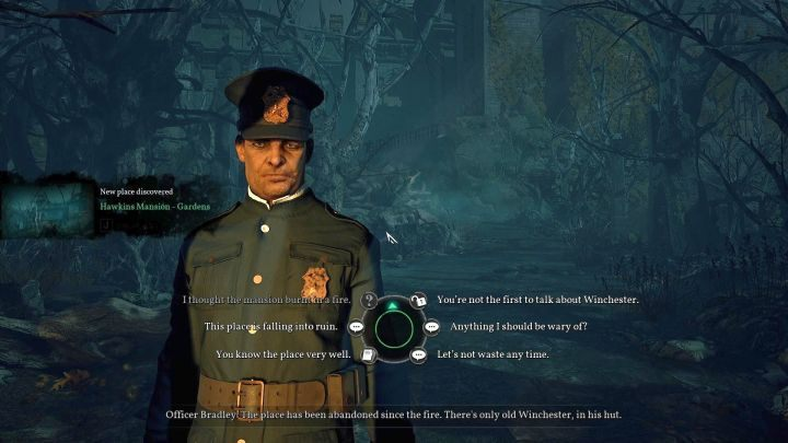 The chapter starts with a conversation with officer Bradley. - Chapter 3 - Garden of the Hawkins mansion | Call of Cthulhu Walkthrough - Walkthrough - Call of Cthulhu Guide