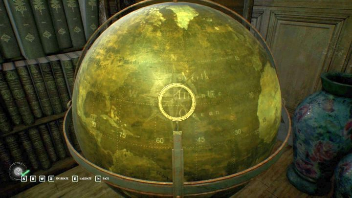 The correct placement of the marker on the globe. - Chapter 3 - Garden of the Hawkins mansion | Call of Cthulhu Walkthrough - Walkthrough - Call of Cthulhu Guide