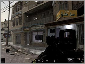 When the tank keeps on shooting, locate a shop with some clothes in the window (see the picture) and walk up the stairs - Intel Data - part 2 | Intel Data locations in COD Modern Warfare Remastered - Intel Data - Call of Duty 4 Modern Warfare Remastered Guide