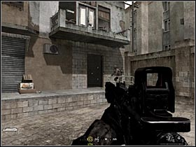 After some shooting in the alley (where your team was attacked by sub-machine guns), wait for your mates to open the door to the building (thats the one in the pic) and go upstairs - Intel Data - part 2 | Intel Data locations in COD Modern Warfare Remastered - Intel Data - Call of Duty 4 Modern Warfare Remastered Guide