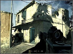 Going through the city, struggling with enemies, locate a building show in the picture - Intel Data - part 1 - Intel Data - Call of Duty 4: Modern Warfare - Game Guide and Walkthrough