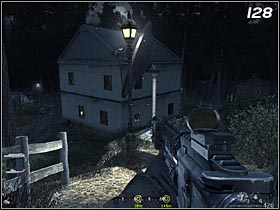 The last building to be checked in this part of village, is a white house (#128) with a satellite dish next to it - Safehouse - Walkthrough - Call of Duty 4: Modern Warfare - Game Guide and Walkthrough