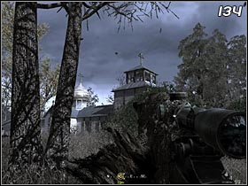 When you get close to an orthodox church, MacMillian will tell you to stop - All Ghillied Up - Walkthrough - Call of Duty 4: Modern Warfare - Game Guide and Walkthrough