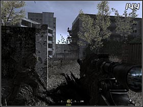 The next opponent will be standing at the top of the stairs by the building (#144) Use your sniper rifle to eliminate him - All Ghillied Up - Walkthrough - Call of Duty 4: Modern Warfare - Game Guide and Walkthrough