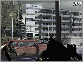 Before you get on a parking, wait until an allied helicopter kills the enemies on the fifth floor - The Sins of Father - Walkthrough - Call of Duty 4: Modern Warfare - Game Guide and Walkthrough