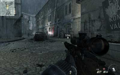 Walk through the square, jump over the metal bars and without lean out crouch in place where you will be able to see four enemies on the street - Resistance Movement - SpecOps missions - Call of Duty: Modern Warfare 3 - Game Guide and Walkthrough