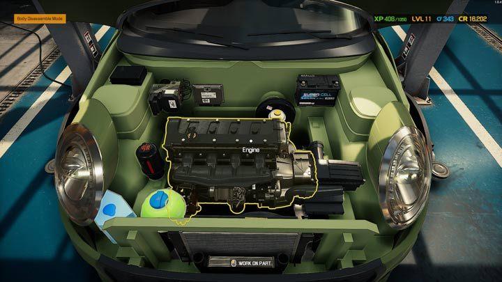 При нажатии на двигатель или подвеску немедленно включается режим разборки по умолчанию - Car Mechanic Simulator 2021: Замена деталей - Основы - Руководство Car Mechanic Simulator 2021