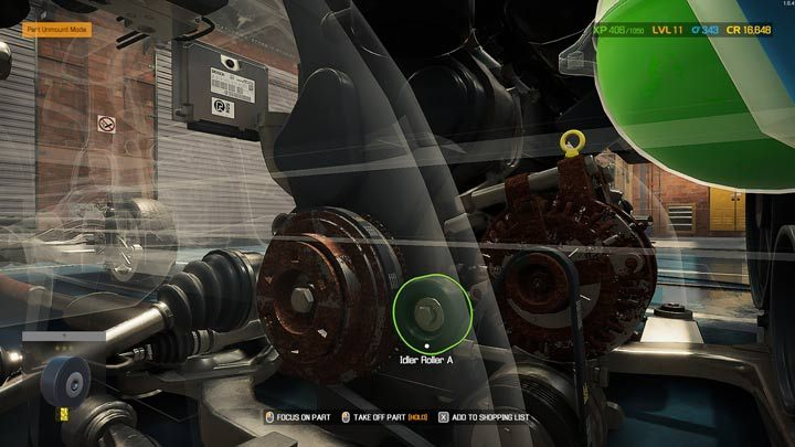 Детали с зеленым контуром можно снимать свободно - Car Mechanic Simulator 2021: Замена деталей - Основы - Руководство Car Mechanic Simulator 2021