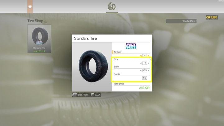 Когда вы покупаете шины или диски, вам необходимо тщательно выбирать те, которые соответствуют ширине, размеру и профилю заменяемой детали - Car Mechanic Simulator 2021: Замена деталей - Основы - Руководство Car Mechanic Simulator 2021