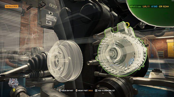 Недостающие детали, которые могут быть установлены, подсвечиваются - те, которые должны быть установлены в первую очередь, имеют зеленый контур - Car Mechanic Simulator 2021: Замена деталей - Основы - Руководство Car Mechanic Simulator 2021