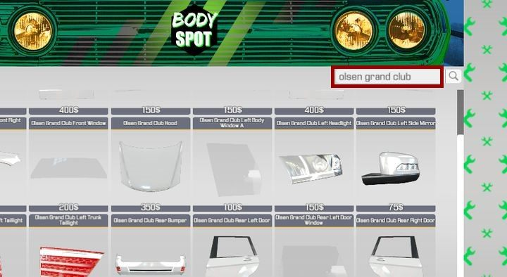 This shop offers body parts - Order 8 - Olsen Grand Club | Story orders - Story orders - Car Mechanic Simulator 2018 Game Guide