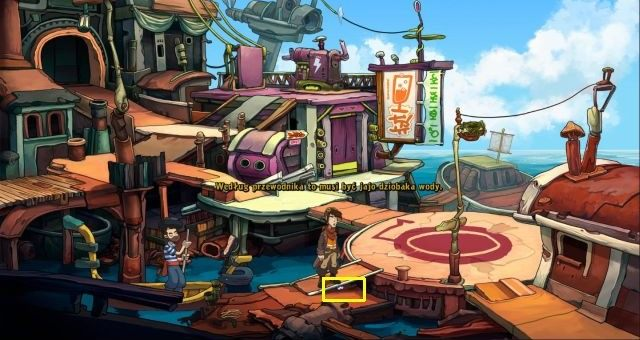 Use the map to travel to the docks and then proceed to port - Water platypus | Chaos on Deponia Walkthrough - Have words with Goal - Chaos on Deponia Guide