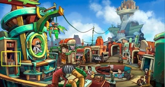 Travel to the market, approach the apothecary and dig out overdue pills from the trash - Water platypus | Chaos on Deponia Walkthrough - Have words with Goal - Chaos on Deponia Guide