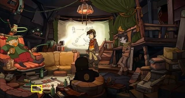 Click on the eighth puzzle fragment (on the floor, next to the game board) - Join the rebels - Chaos on Deponia Walkthrough - Convince Baby Goal - Chaos on Deponia Guide