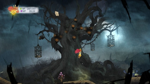 At the top of this location, next to a tree with glowing skulls, there is a message - Chapter 8 | Collectibles - Collectibles - Child of Light Game Guide
