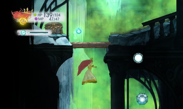 Tumbled Tourmaline in the stone and Damage Elixir in the chest - Chapter 10 | Collectibles - Collectibles - Child of Light Game Guide