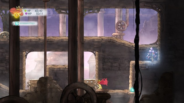 You have to carry it over downstairs and push to the right to be able to continue - Chapter 2 - The Queen of Light | Walkthrough - Walkthrough - Child of Light Game Guide