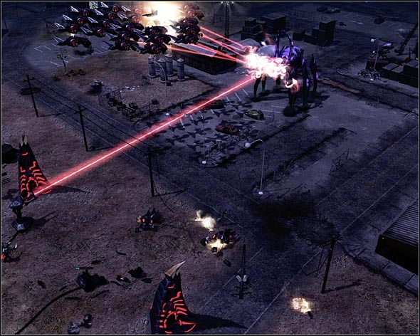 Let the Eradicator get into the range of your turrets before attacking it at full scale. - Hearts and Minds - Act 2 - Command & Conquer 3: Kanes Wrath - Game Guide and Walkthrough