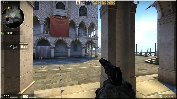 The pillars provide good cover and additionally, you can shoot between them to the opponents that may appear up in the distance - Mission 9 - Canals - Blood in the Water - Missions - CS GO Game Guide