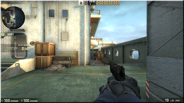 Passage with two different levels, where opponents may appear - Mission 11 - Shipped - Manifest Destiny - Missions - Counter-Strike: Global Offensive Game Guide