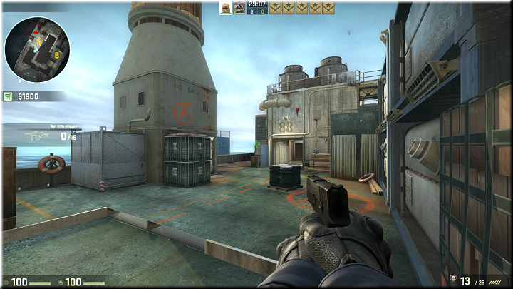 While in the corner, you can keep an eye on nearly entire map - Mission 11 - Shipped - Manifest Destiny - Missions - Counter-Strike: Global Offensive Game Guide