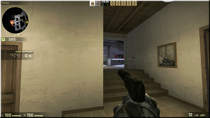 In the above screenshot, there is a corridor to the stairs, which may be used by the opponents to get into the building - Mission 12 - Austria - One for Each of You - Missions - CS GO Game Guide