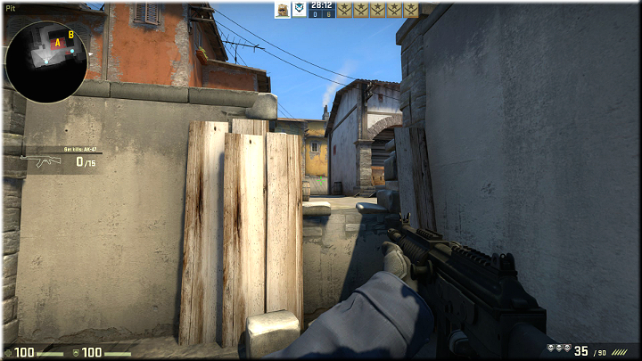Heres a great spot that provides additional defense against enemies on the balcony, which is behind the wall on the left - Mission 17 - Inferno - Scavengers - Difficult missions - Counter-Strike: Global Offensive Game Guide