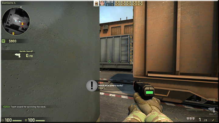 Standing behind a corner, as shown above, you can throw a smoke - just as in the previous case - so that it doesnt totally obstruct the view, but nonetheless conceals you from enemies - Mission 21 - Train - Shocking Developments - Difficult missions - Counter-Strike: Global Offensive Game Guide