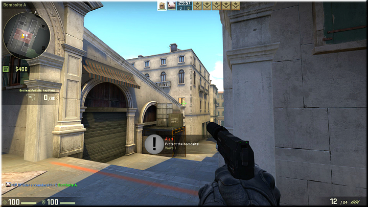 Standing here, you can watch the door in the building opposite, which can be used by the enemies to get to the roof; you also can cover the stairs leading down - Mission 23 - Rialto - Continental Etiquette - Difficult missions - Counter-Strike: Global Offensive Game Guide