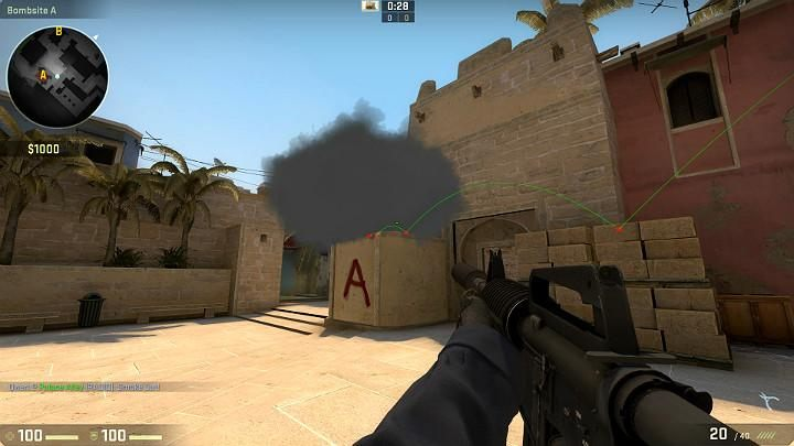The grenade will bounce off the stack of bricks, fly over onto the elevation and obstruct the view of a any opponents on the stairs - Mirage | Tournament maps in CS GO - Tournament Maps in Counter Strike: Global Offensive - CS GO Game Guide