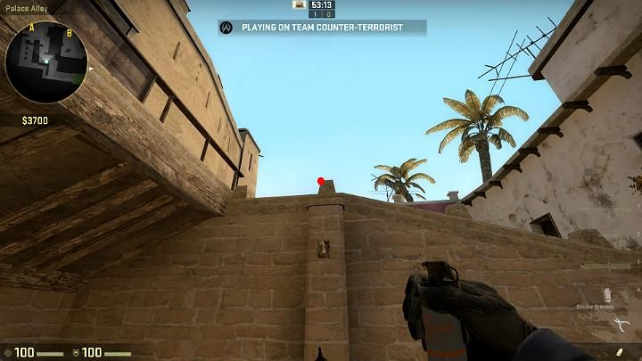 Stand on the narrow balcony with the wall behind your back and aim at the point shown in the above screenshot - Mirage | Tournament maps in CS GO - Tournament Maps in Counter Strike: Global Offensive - CS GO Game Guide