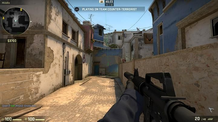 The grenade will fly in through the window of the room in the distance and cloud the vision of the opponent in that position and looking inside - Mirage | Tournament maps in CS GO - Tournament Maps in Counter Strike: Global Offensive - CS GO Game Guide