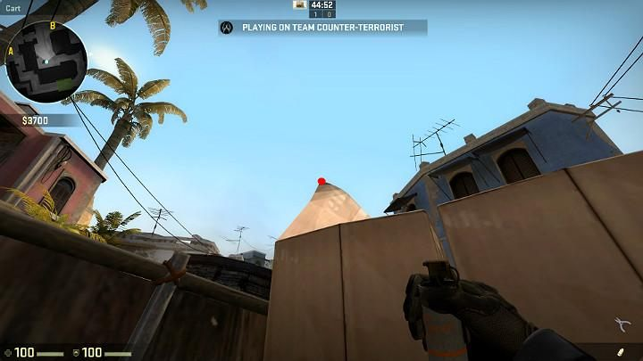 After you move the crosshairs slightly to the right, to the very top of the cardboard dog ear, you can take another throw - Mirage | Tournament maps in CS GO - Tournament Maps in Counter Strike: Global Offensive - CS GO Game Guide