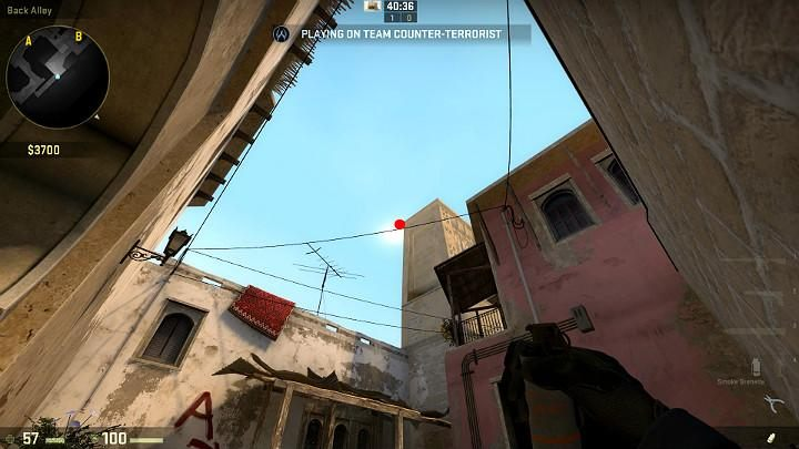 While in the corner of the building, with the wall behind your back, aim at the point shown in the above screenshot - Mirage | Tournament maps in CS GO - Tournament Maps in Counter Strike: Global Offensive - CS GO Game Guide