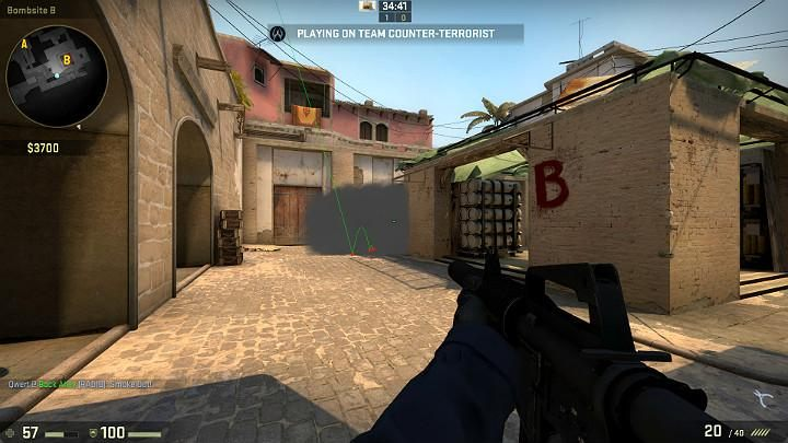 The grenade will fly towards the kitchen and block off vision of players in the vantage point in the window - Mirage | Tournament maps in CS GO - Tournament Maps in Counter Strike: Global Offensive - CS GO Game Guide
