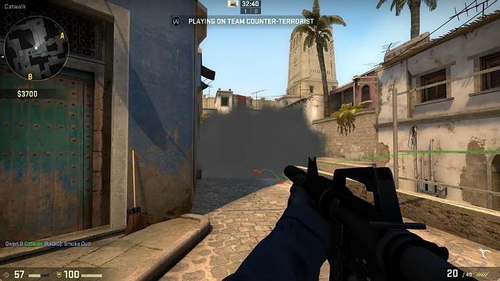 The grenade will bounce off the obstacle, fly towards the interior and block off the view of the players looking from behind the corner, from the direction of the terrorist respawn, as well as of those slightly to the right - Mirage | Tournament maps in CS GO - Tournament Maps in Counter Strike: Global Offensive - CS GO Game Guide