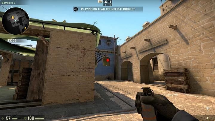 You can take this throw while running, while accessing planting spot B - Mirage | Tournament maps in CS GO - Tournament Maps in Counter Strike: Global Offensive - CS GO Game Guide