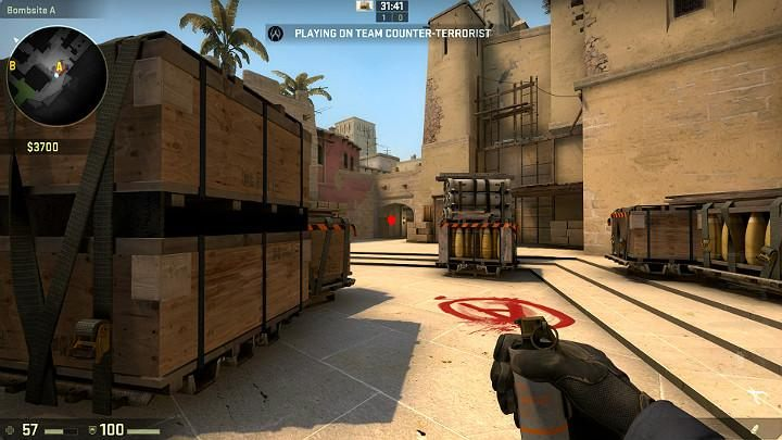 While running from the counter-terrorist respawn point, you can take an easy throw that will block the vision of players assaulting from the terrorist side - Mirage | Tournament maps in CS GO - Tournament Maps in Counter Strike: Global Offensive - CS GO Game Guide