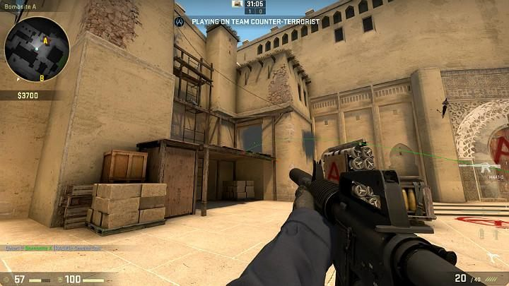 The grenade will fly into the building and form a smokescreen - Mirage | Tournament maps in CS GO - Tournament Maps in Counter Strike: Global Offensive - CS GO Game Guide