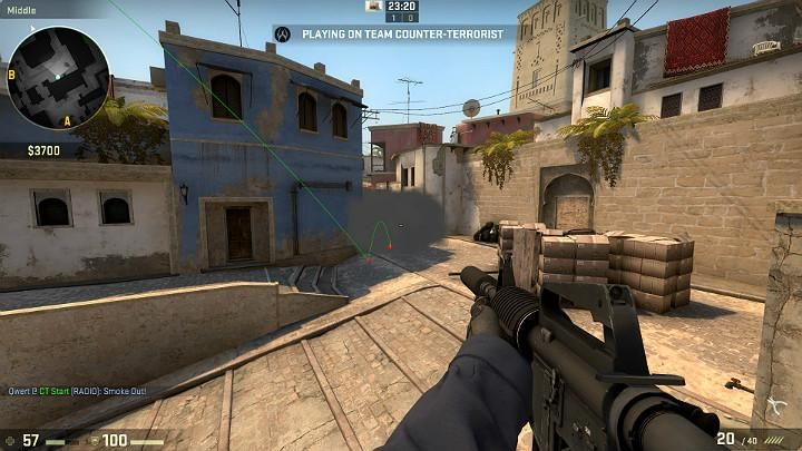 The grenade will fly inside and completely block off the vision of the player taking a sniping point from the side of the terrorist respawn point - Mirage | Tournament maps in CS GO - Tournament Maps in Counter Strike: Global Offensive - CS GO Game Guide