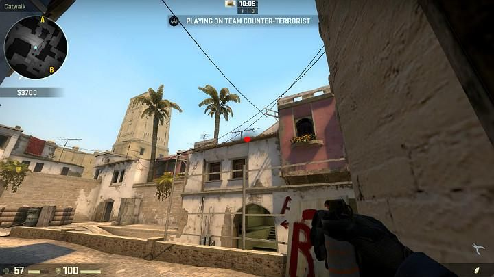 Stand in the corner of the building and aim at the point on the edge of the roof - Mirage | Tournament maps in CS GO - Tournament Maps in Counter Strike: Global Offensive - CS GO Game Guide