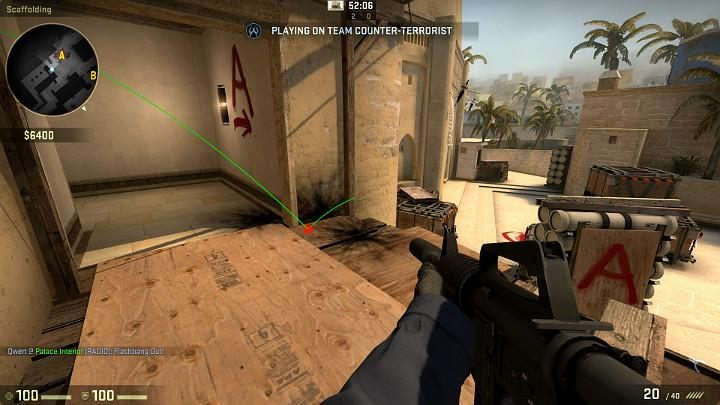 The grenade will bounce off the wall, then off the plank, go off and blind all of the players looking towards the entrance from the direction of point A - Mirage | Tournament maps in CS GO - Tournament Maps in Counter Strike: Global Offensive - CS GO Game Guide