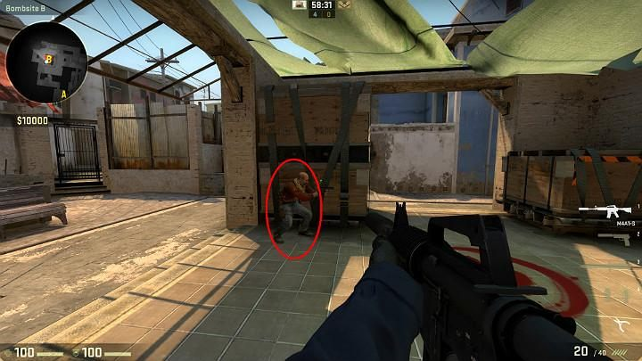 While in the planting spot B, you can ask a teammate to crouch in the above spot, thanks to which you can jump onto his shoulders - Mirage | Tournament maps in CS GO - Tournament Maps in Counter Strike: Global Offensive - CS GO Game Guide