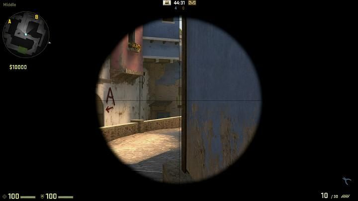 As you go towards the center of the map from the direction of the terrorist respawn point, always check out the corner of the window in the distance - Mirage | Tournament maps in CS GO - Tournament Maps in Counter Strike: Global Offensive - CS GO Game Guide
