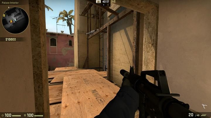 As you leave the palace, always pay attention to the ladder down and the corner on the right, behind which there may be an opponent hidden - Mirage | Tournament maps in CS GO - Tournament Maps in Counter Strike: Global Offensive - CS GO Game Guide