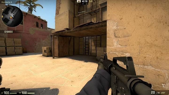This space under the wooden plank is a spot, where you can often encounter an opponent defending point A - Mirage | Tournament maps in CS GO - Tournament Maps in Counter Strike: Global Offensive - CS GO Game Guide