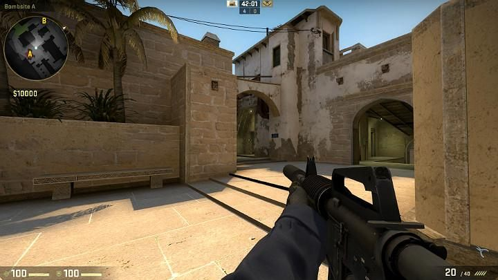 Here we see the passage through the jungle and the passage leading inside (on the right) - Mirage | Tournament maps in CS GO - Tournament Maps in Counter Strike: Global Offensive - CS GO Game Guide