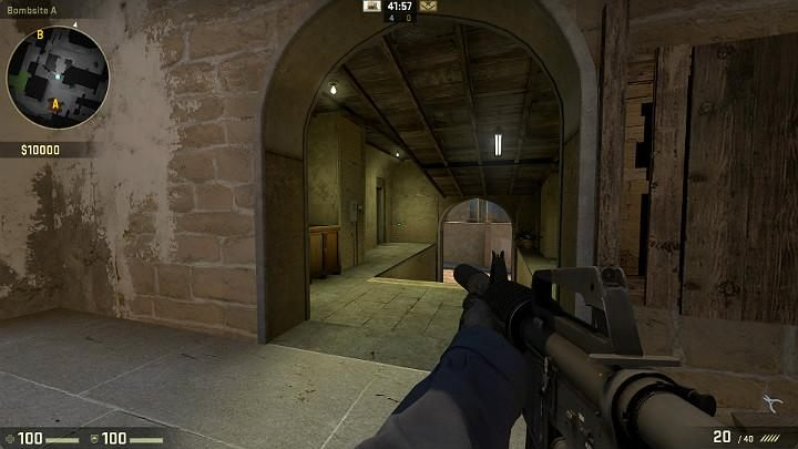 In the corner of the corridor into the building, you can often encounter a player aiming at the passage, in the direction of the terrorist respawn point - Mirage | Tournament maps in CS GO - Tournament Maps in Counter Strike: Global Offensive - CS GO Game Guide