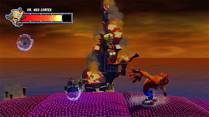 Avoid the slow blue projectiles - Cortex N. Capacitated | Crash Bandicoot Trophy Guide - Crash Bandicoot - Crash Bandicoot N. Sane Trilogy Game Guide