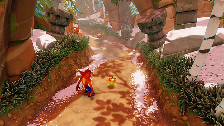 Youll encounter the first opponent shortly after initiating the stage - red carnivorous plants that spew exploding seeds - Diggin It | Crash Bandicoot 2 | Levels - Crash Bandicoot 2 - Alpine Warp Room - Crash Bandicoot N. Sane Trilogy Game Guide